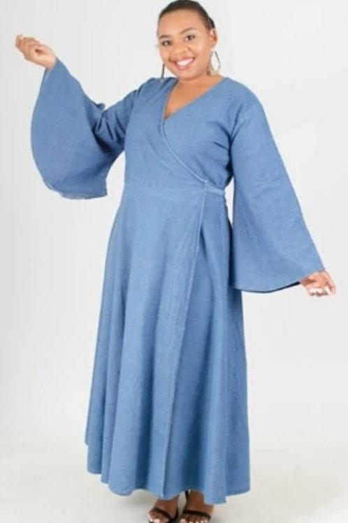 Denim Wrap Dress/Duster (free size)