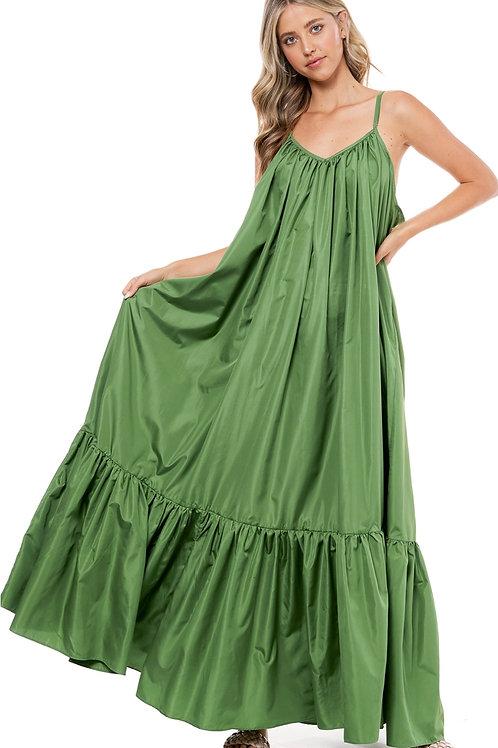 Olive Green Maxi Dress( free size)