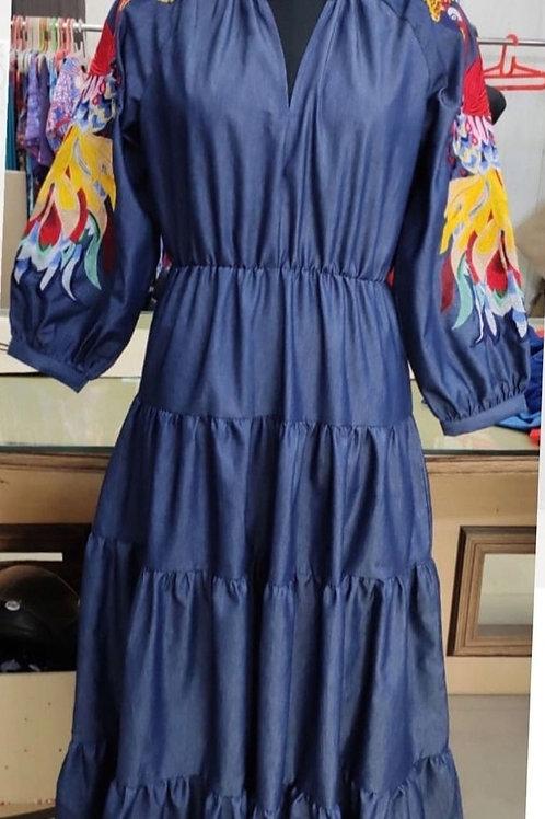 Denim Peacock Dress