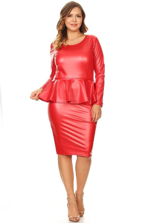 Faux Leather Red Dress