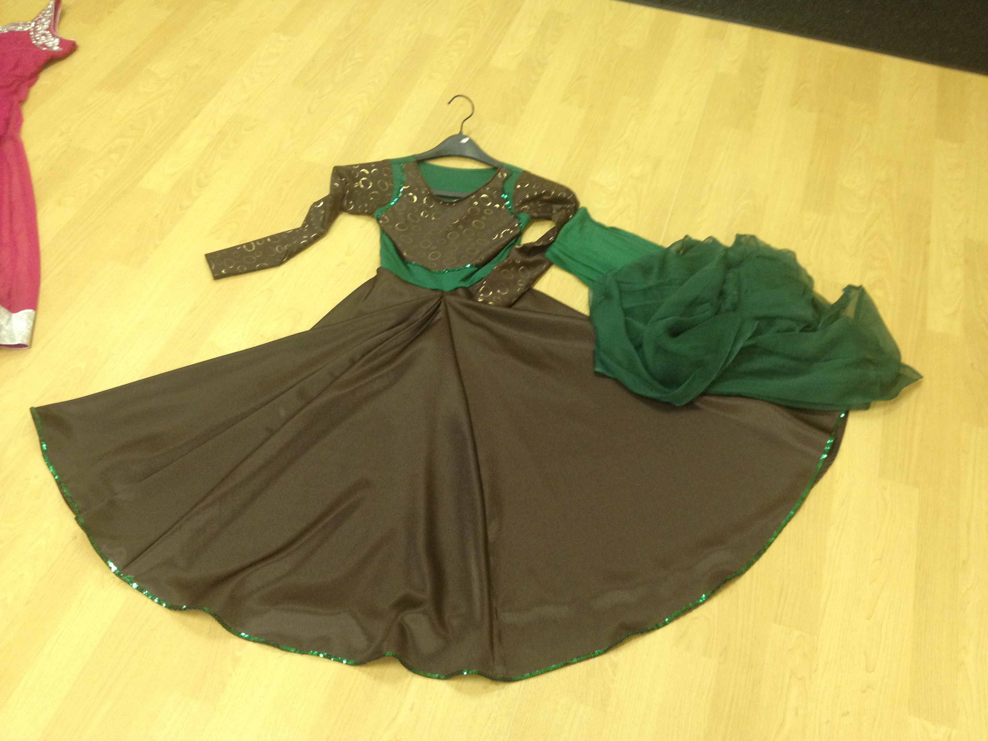 Green & Brown Kathak Style Dress