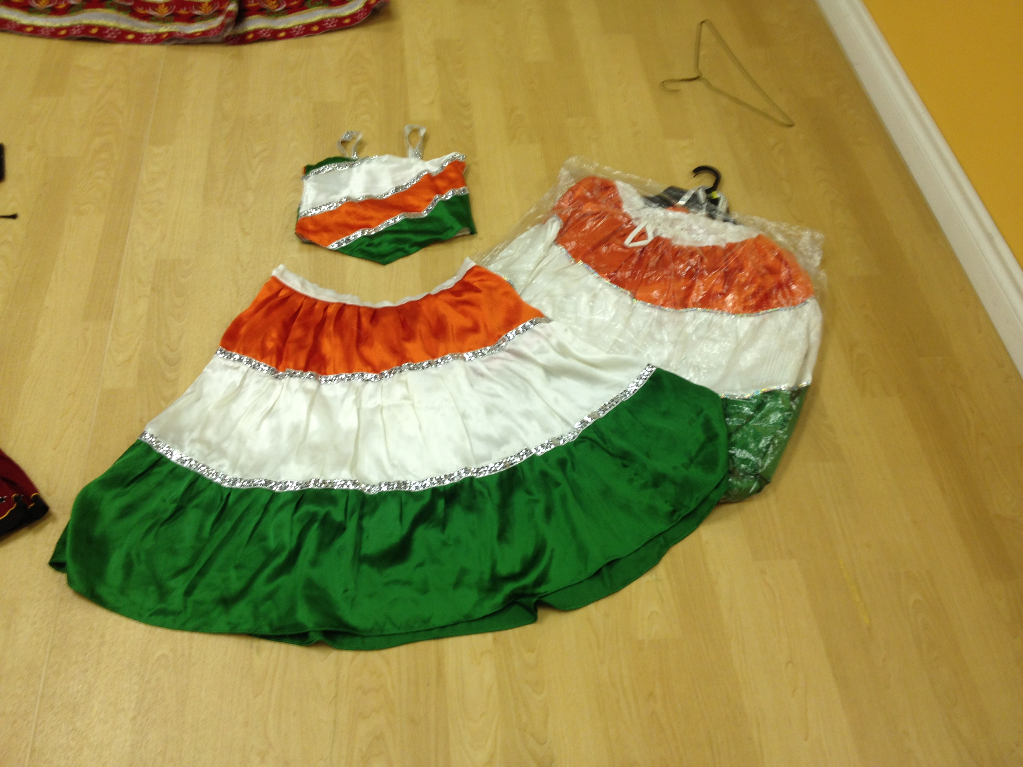 3 matching ghagra choli Indian Flag