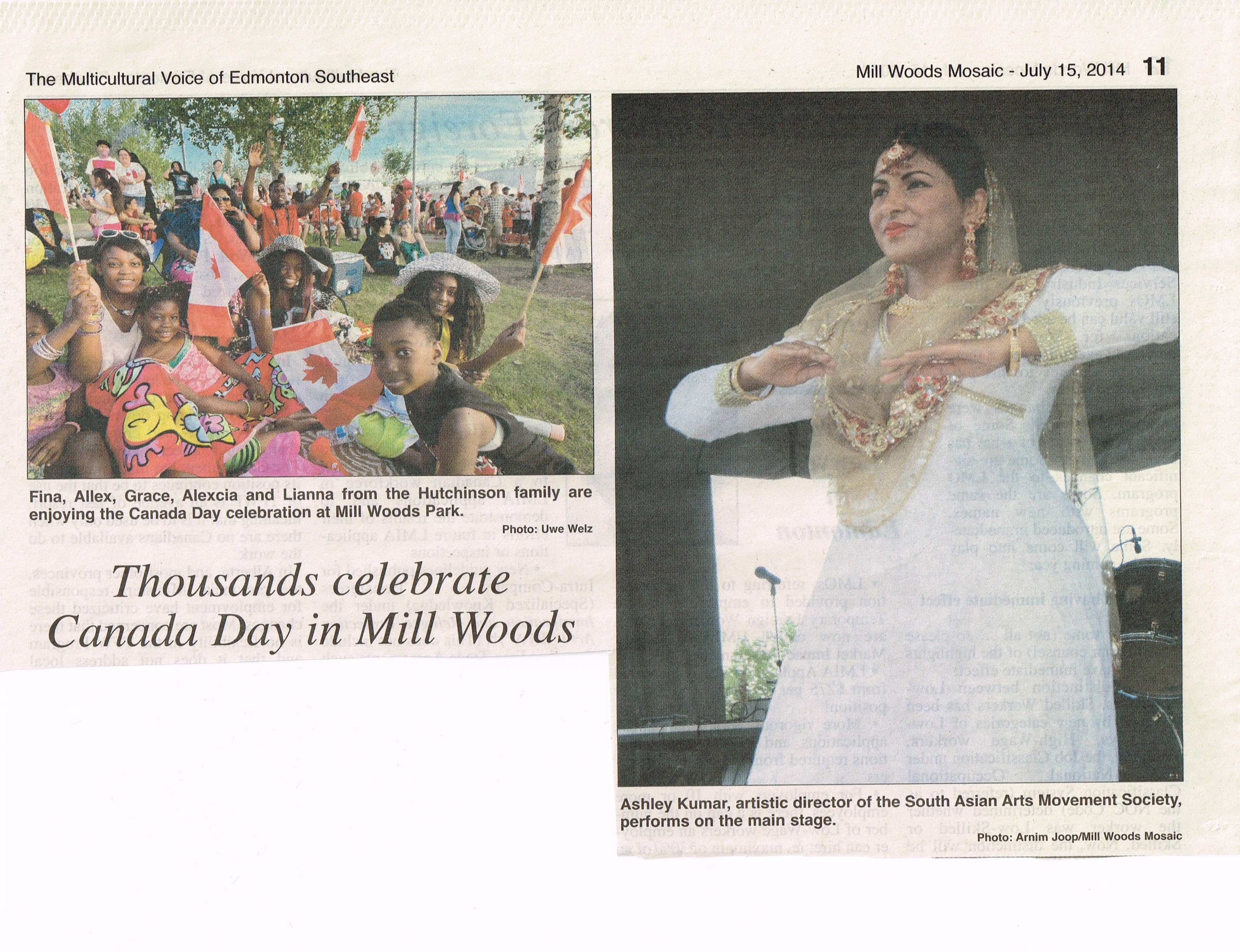 Pic in the Paper - Canada Day 2014