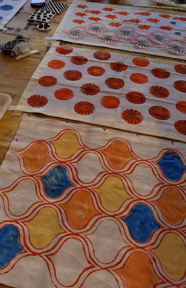 Tea Towels being printed.