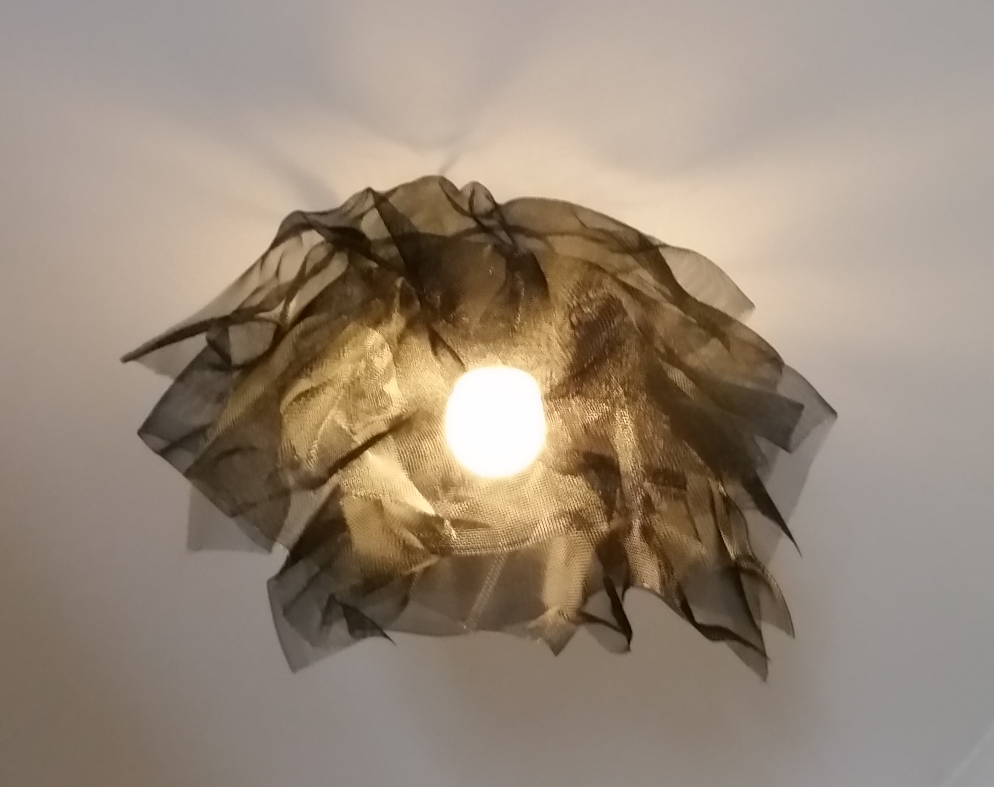 Sculptured wire light shade.