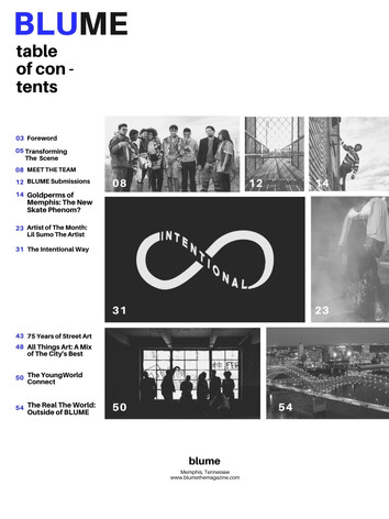 Magazine Table of Contents Page