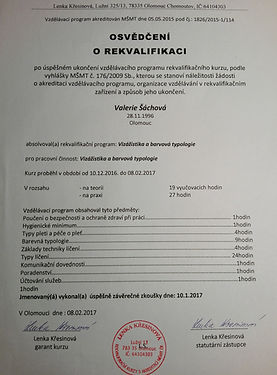 certifikát vizážistiky a barvové typologie Valerie Šáchová