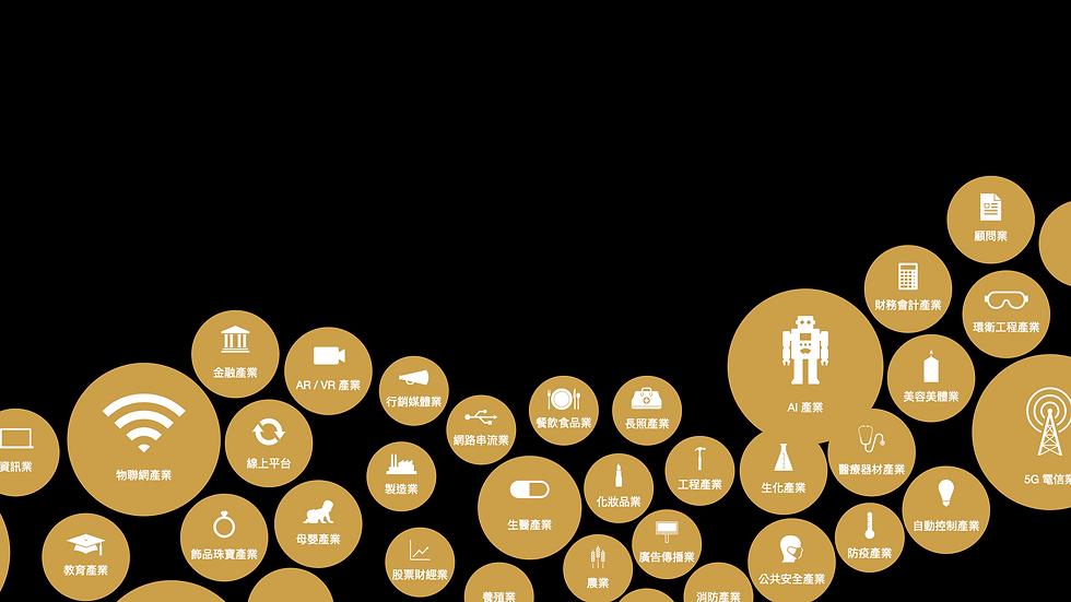 金融產業、AR、VR、行銷媒體、網路串流、餐飲食品業、長照、化妝品、飾品珠寶、母嬰、生醫、廣告傳播、生化、公共安全、AI、物聯網產業、教育產業、資訊產業、通訊產業