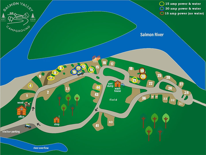 Salmon Valley Campground Site Map