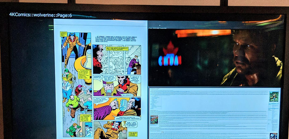 A display showing page 6 of a Wolverine comic book, a related Wikipedia page, and a frame from a Wol