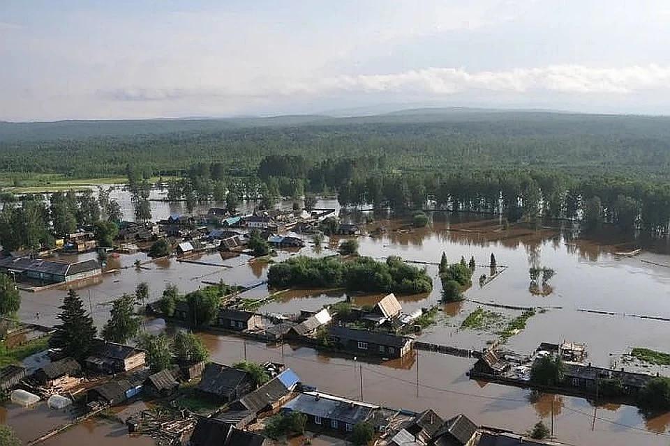 Затопленный район во время наводнения