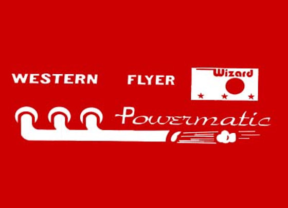 WESTERN FLYER POWERMATIC PEDAL TRACTOR DECALS