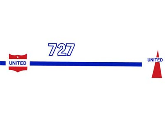 UNITED 727 PEDAL PLANE DECALS