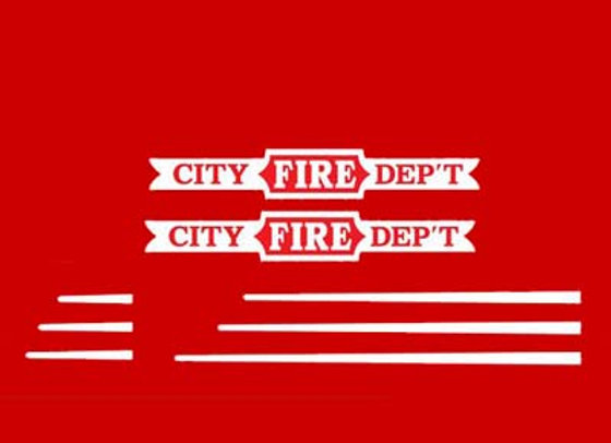 PEDAL CAR DECALS CITY FIRE DEPT.