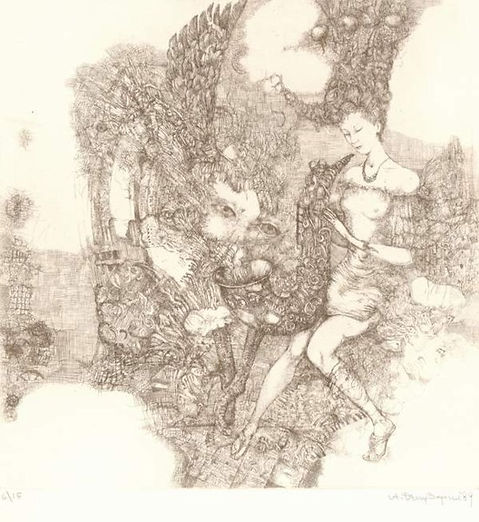 contemporary modern abstract etching art
