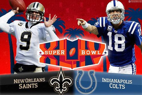 Super Bowl XLIV 44 New Orleans Saints vs Indianapolis Colts on DVD Complete Game
