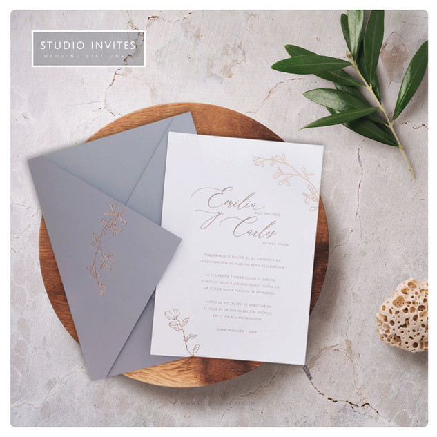 GOLD BRANCHES WEDDING INVITATION - STUDI