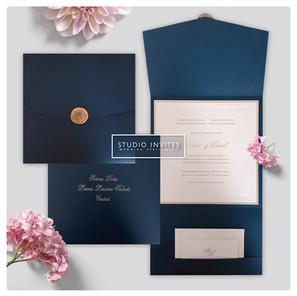 BLUE TRIFOLD INVITATION - STUDIO INVITES