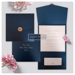 BLUE TRIFOLD INVITATION - STUDIO INVITES