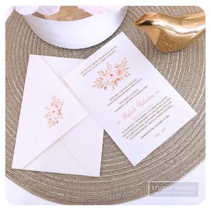 CORAL & CHAMPAGNE FLORAL INVITATION - ST