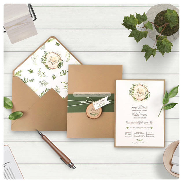 WOODEN STYLED WEDDING INVITATION - STUDI