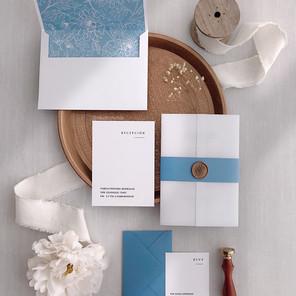 DUSTY BLUE AND WHITE INVITATION - STUDIO