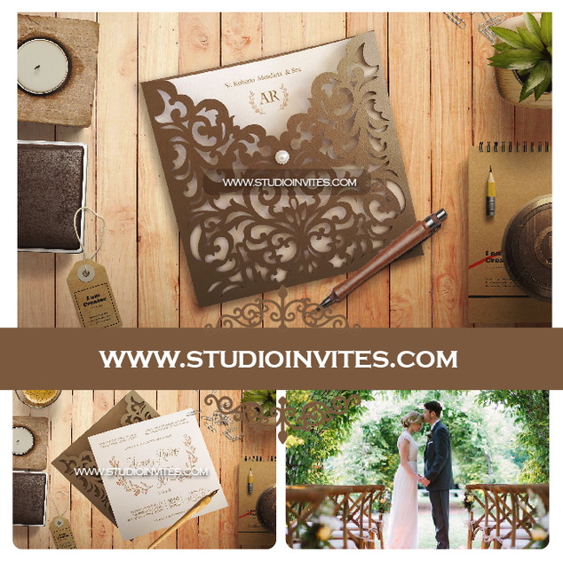 RUSTIC LASER CUT INVITATION - STUDIO INV