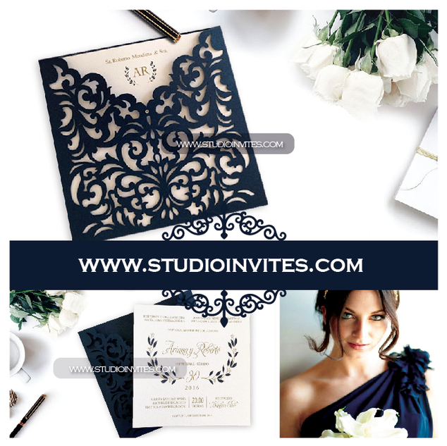 LASERCUT BLUE ENVELOPE - STUDIO INVITES.