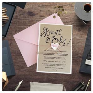 RUSTIC PINK INVITATION - STUDIO INVITES.