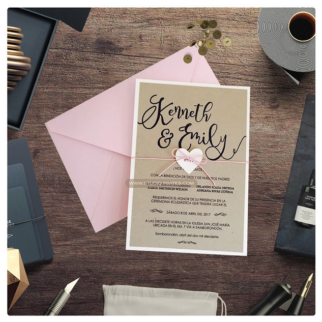 RUSTIC PINK INVITATION - STUDIO INVITES.