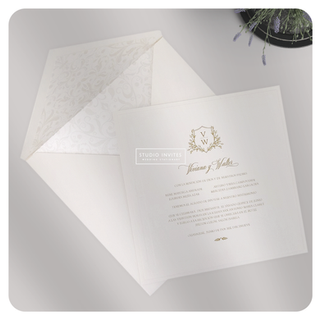 HERALD WITH LEAVES WEDDING INVITATION -