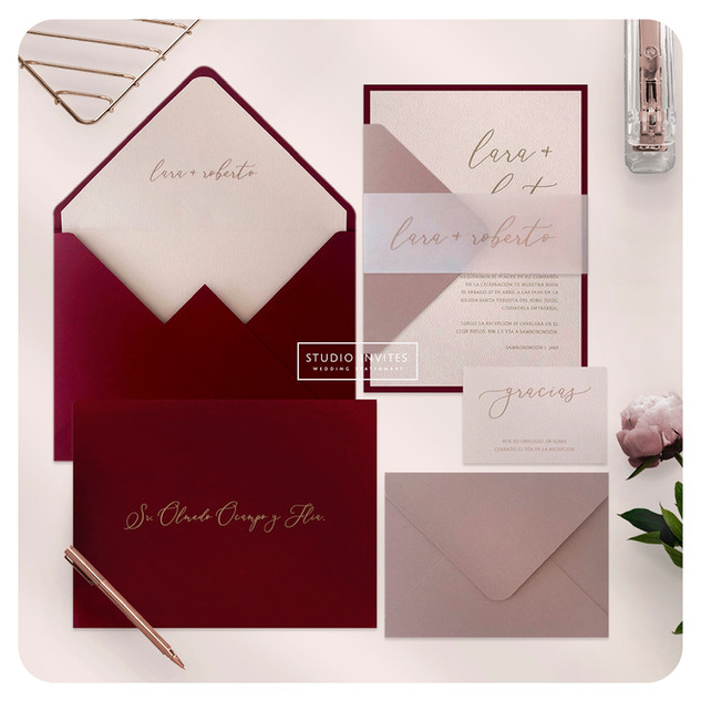 BURGUNDY & BLUSH INVITATiON  - STUDIO IN