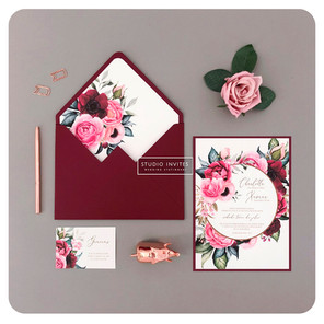BURGUNDY AND PINK FLORAL INVITATION - ST