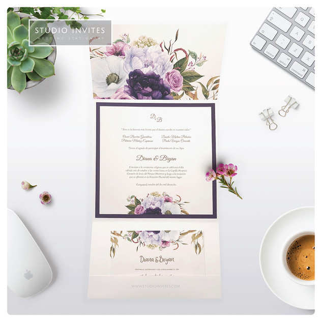 PURPLE INVITE  WITH WODDEN EMBELLISHMENT
