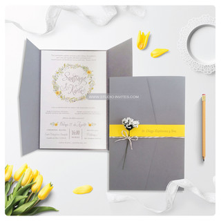 GREY & YELLOW WEDDING INVITATION STUDIO