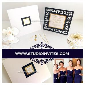 LASERCUT BLUE WEDDING  INVITATION - STUD