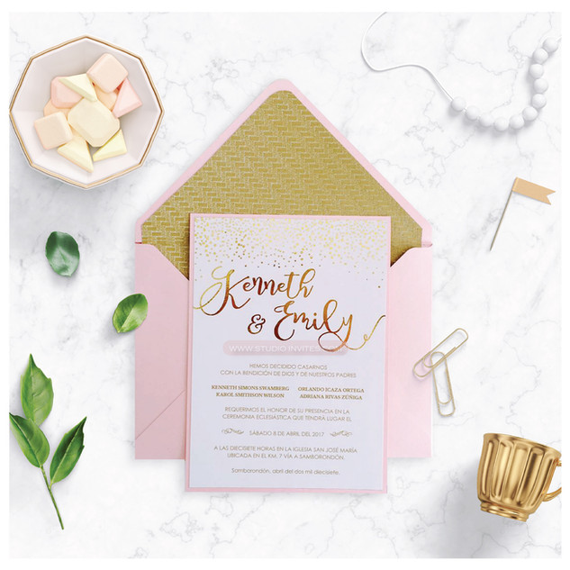 GLITTER  GOLD INVITATION - STUDIO INVITE
