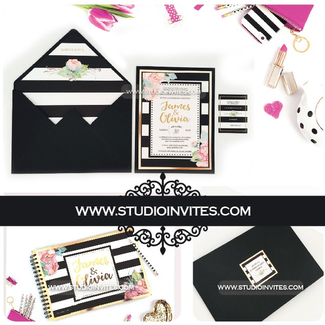 INVITACION BLACK STRIPES - STUDIO INVITE
