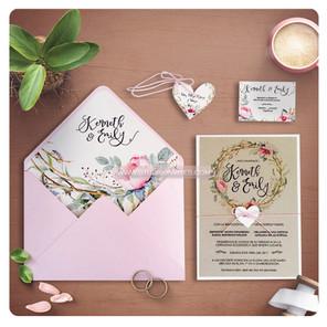 PINK FLOWER RUSTIC INVITATION - STUDIO I