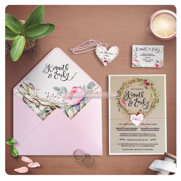 PINK FLOWER RUSTIC INVITATION - STUDIO I