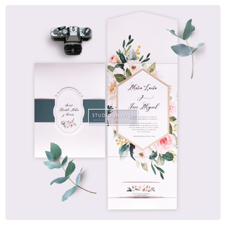 PEACH & GREEN INVITATON - STUDIO INVITES