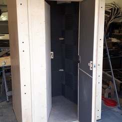 Vocal Recording Booth. Double walled and complete with lighting, power and data connections.