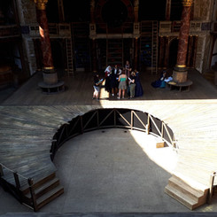 Curved and raked stage for The Globe Production of 'Emilia'