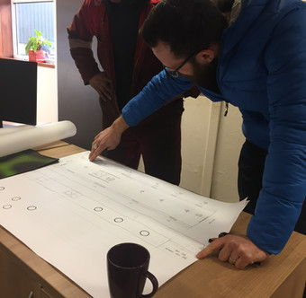 Going over the final drawings with Stan Hardy our excellent fabricator.
