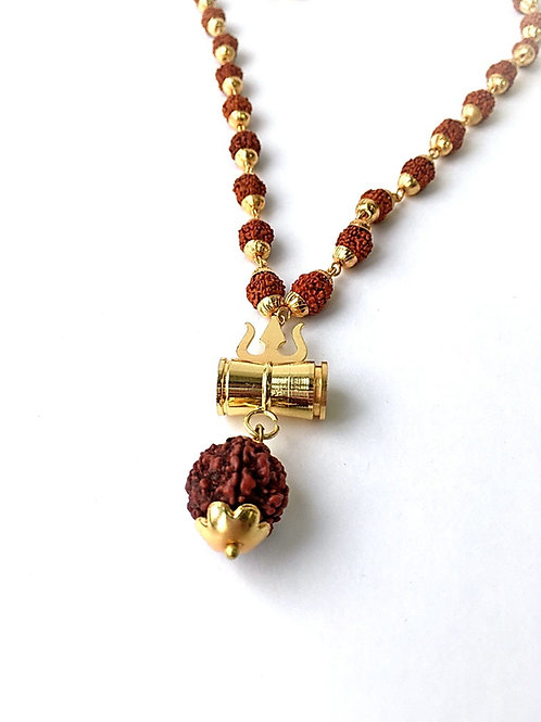 Ожерелье-кавача с рудракшей в металле