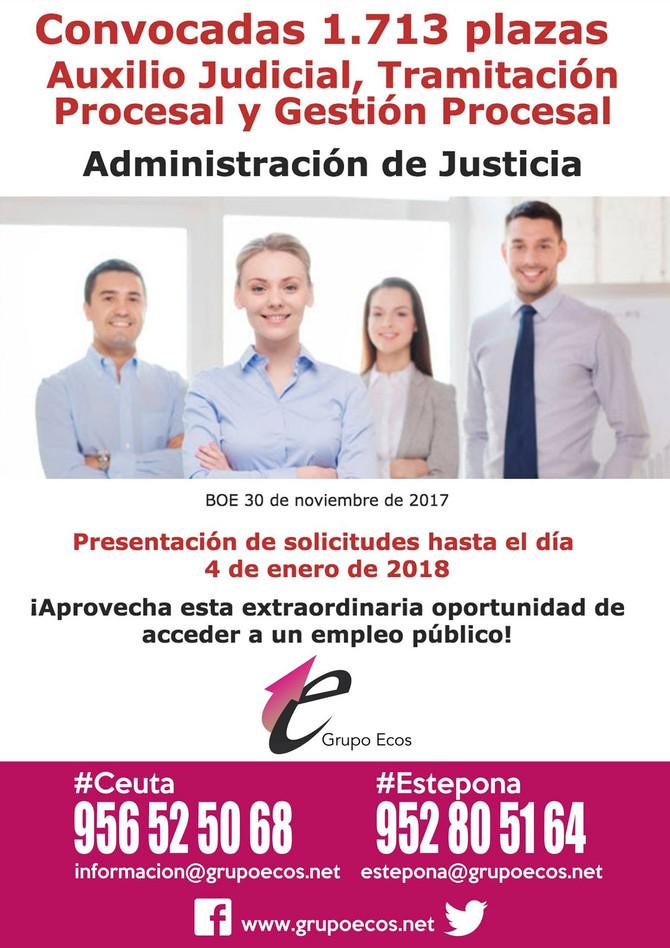JUSTICIA: Convocadas 1.713 plazas de Auxilio Judicial, Tramitación Procesal y Gestión Procesal (turn