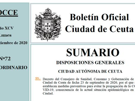 Nuevas medidas preventivas contra el COVID-19 en Ceuta