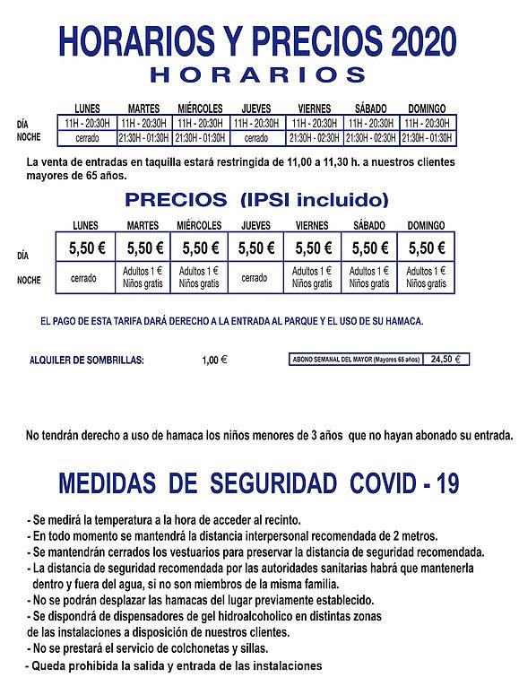 HORARIOS Y PRECIOS PARQUE 2020