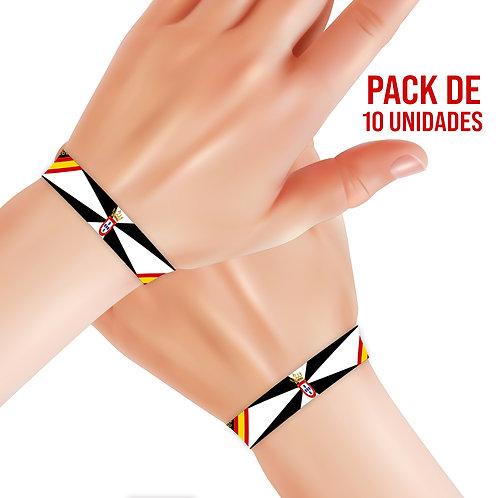 Pulseras bordadas BANDERA DE CEUTA (Pack de 10 unidades)