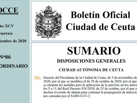 BOCCE del 05-11-2020, con nuevas medidas restrictivas